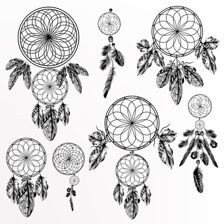 indian tattoo: Big collection or set of hand drawn dreamcatchers tribal Illustration