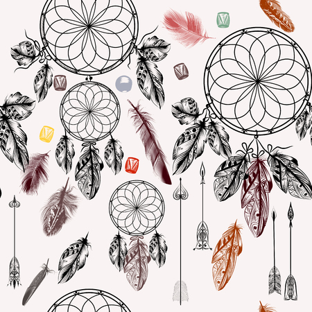 indian feather: Seamless vector background with hand drawn dream catcher in engraved boho style