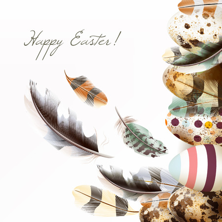 Easter greeting card in pastel colors with painted eggs and realistic vector feathers