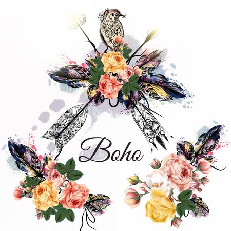 dibujado a mano boho diseño tribal con las flechas rosas y aves estilo dibujado a mano acuarela
