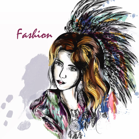longhaired: Beautiful dreamy longhaired girl in boho style clothes with colorful  feathers and  hand drawn dream catcher in engraved  style