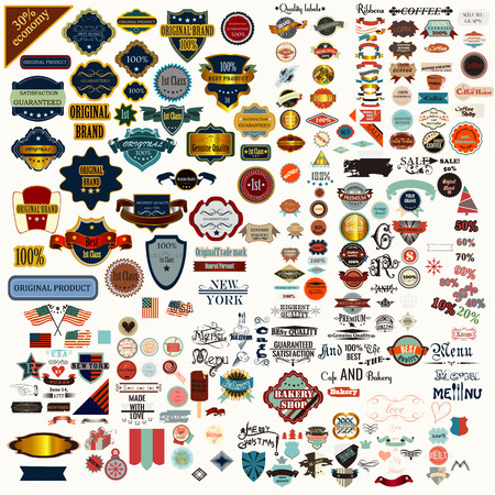 mega: Big or mega collection or set of vector labels ribbons in vintage style quality best product sale and other