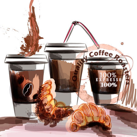 caf: Coffee vector poster with coffee plastic cups and croissant painted in watercolor style fresh morning breakfast Illustration