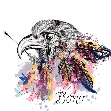 Boho fondo de vector con plumas de aves mano y el águila grabada en estilo de la acuarela