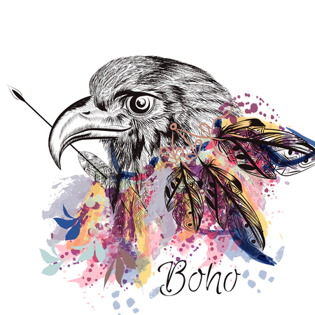 Boho vector background with hand  bird  feathers and engraved eagle in watercolor style
