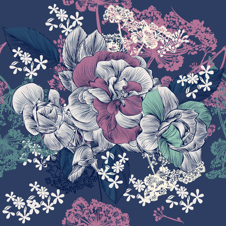 seamless floral: Floral seamless pattern with roses and  flowers in engraved style for design on blue background