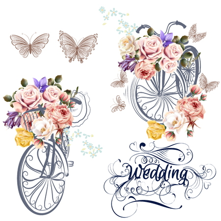 vintage rose: Beautiful collection of bicycles with realistic roses wedding set