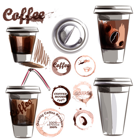 mug: Coffee collection vector set from painted plastic glass with coffee and coffee spots in watercolor style
