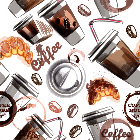 Wektor bezszwowe tło kawy z filiżanką kawy kawy i croissant malowane w stylu akwarela