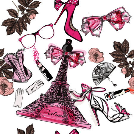 Beautiful seamless fashion background with perfume Eifel tower shoes sandals flowers and lipstick