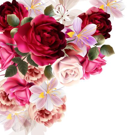 장미와 히아신스 꽃 벡터 일러스트와 함께 아름다운 배경