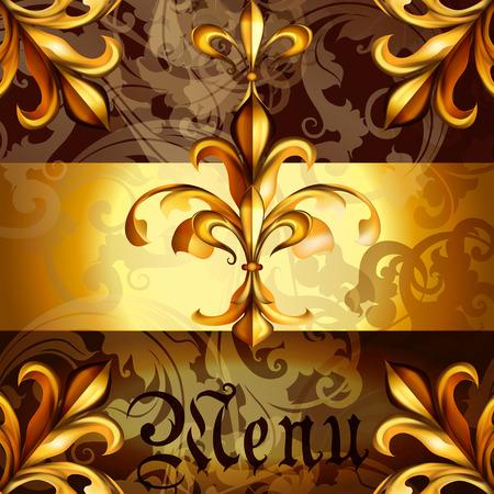 lis: Menu design with heraldic fleur de lis in golden colors Illustration