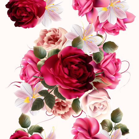 Beautiful seamless background with roses and hyacinth flowers  vector illustration