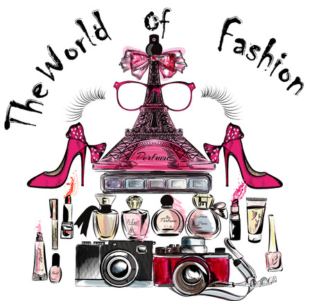 eifel tower: Illustration or poster with vector Eifel tower shoes lipsticks perfumes and cameras the world of fashion