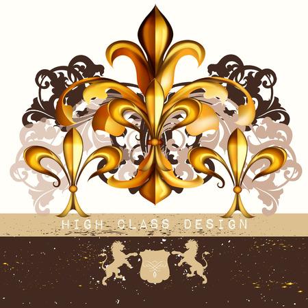Vintage fleur de lis  for luxury restaurant menu, boutique or business identity royal heraldic style