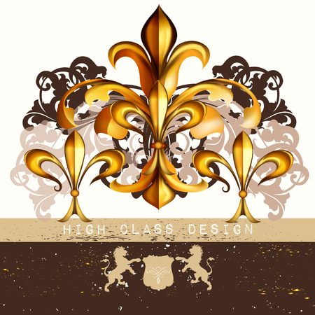 Vintage fleur de lis  for luxury restaurant menu, boutique or business identity royal heraldic style