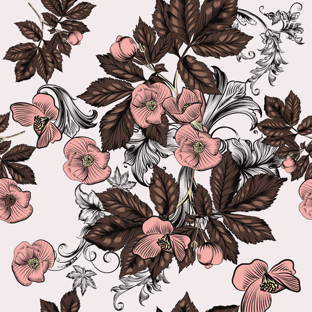 victorian pattern: Beautiful seamless floral  background with flowers in pastel colors