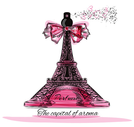 eifel tower: Fashion illustration with perfume bottle in shape of  Eifel tower Paris is the capital of aroma