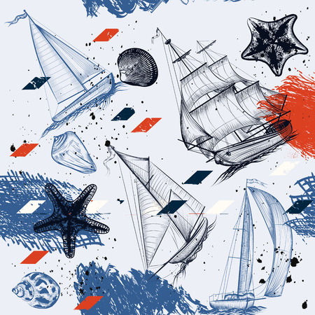 Vector seamless background with hand drawn ships star fishes shells in vintage  style