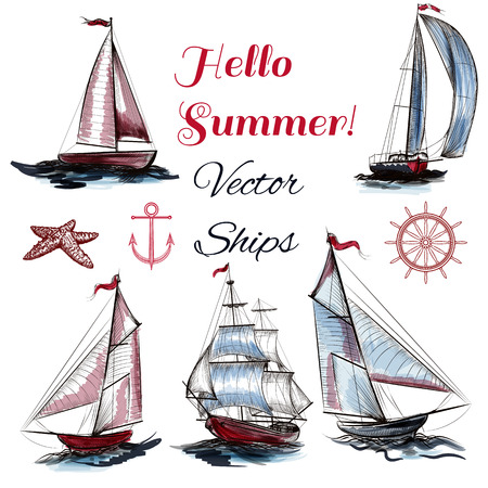 inked: A collection of vector ships drawn in watercolor style hello summer theme of vacation trip and rest Illustration