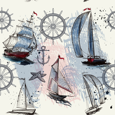 tripping: Seamless wallpaper pattern with ships drawn in watercolor style for design Illustration