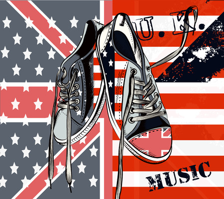 british english: Illustration with vector sneakers with USA and British flags hipster fashion background