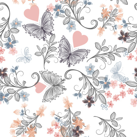 victorian pattern: Floral seamless rustic wallpaper pattern with florals and butterflies in soft pastel colors Illustration