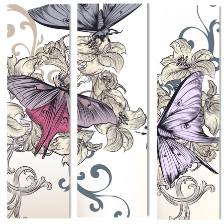 borders plants: Floral vertical brochures set with hand drawn  flowers and butterflies