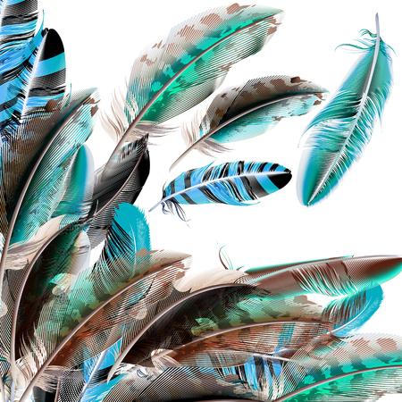 white feather: Fondo del vector de la moda con plumas blancas y marrones azules en estilo realista Vectores