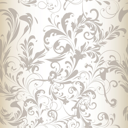 grey background: Tender vector seamless pattern or background with swirl flourishes white silver and grey colors ideal for wedding design or save the date Illustration