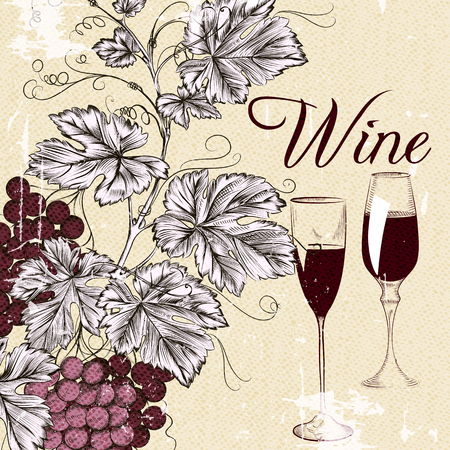 wine glasses: Vintage wine poster with grape wine glasses shabby background or banner