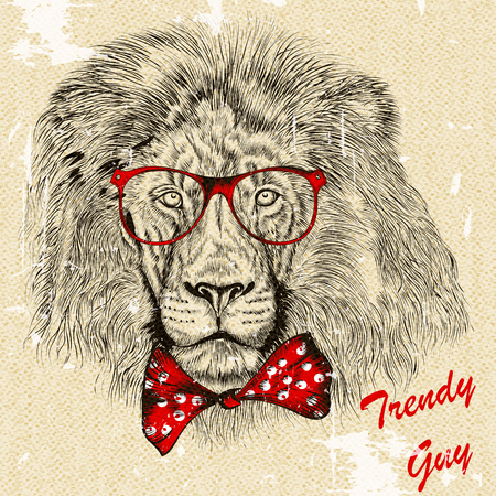 retro glasses: Fashion hipster background with hand drawn lion with red bow and glasses imitation of retro postcard
