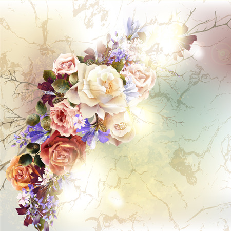 antique fashion: Fashion antique background with rose flowers in retro style