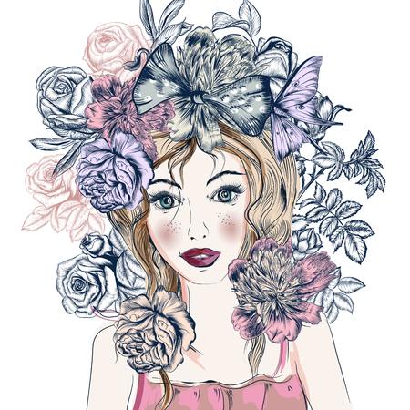 Ilustración de la manera con la mano dibuja bastante chica de ojos azul y flores de estilo de moda