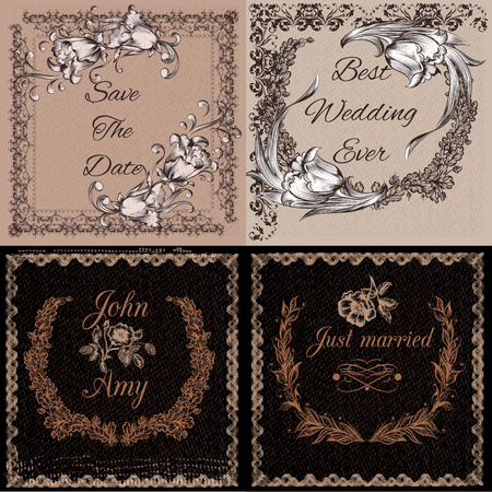 classical: Collection of vector templates or cards in vintage style ideal for invitation branding save the date cards and others