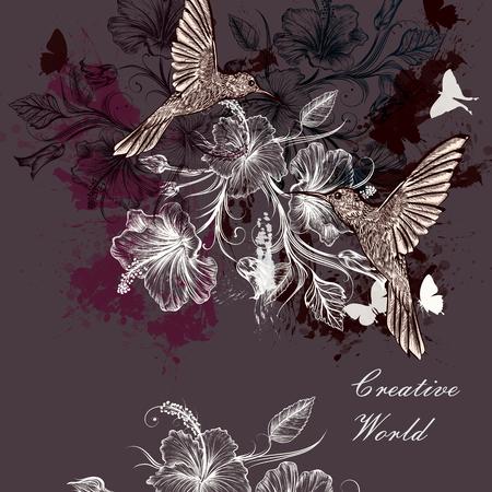 oiseau dessin: Mode beau fond avec des taches et des colibris fleurs d'hibiscus Illustration