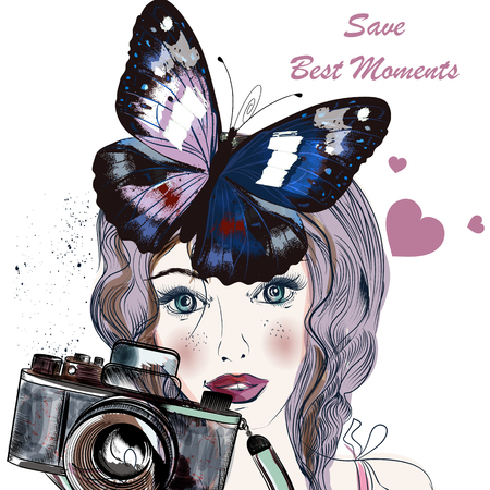 eyed: Fashion illustration with hand drawn pretty blue eyed girl holding a vintage camera