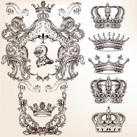 Collection of filigree high detailed shields and crowns for design