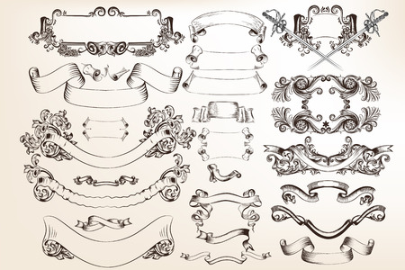 victorian vintage: A collection or set of vector banners and ribbons in victorian vintage style filigree drawings