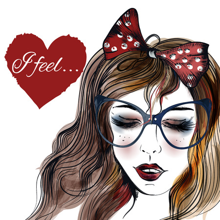 flirty: Fashion illustration with hand drawn pretty girl in glasses closed eyes and heart with signature I feel on it