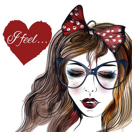 expresiones faciales: Ilustración de la manera con la mano dibujada niña bonita en vidrios cerrados ojos y el corazón con la firma me siento en él Vectores