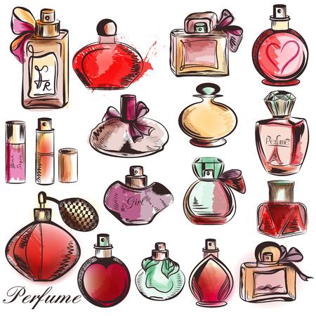 Collection de flacons de parfum de vecteur dessiné dans le style d'aquarelle