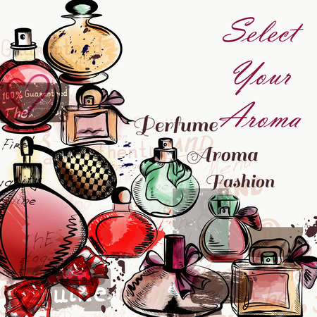 aroma: Fashion vector background with perfumes drawn in watercolor style select your aroma for design