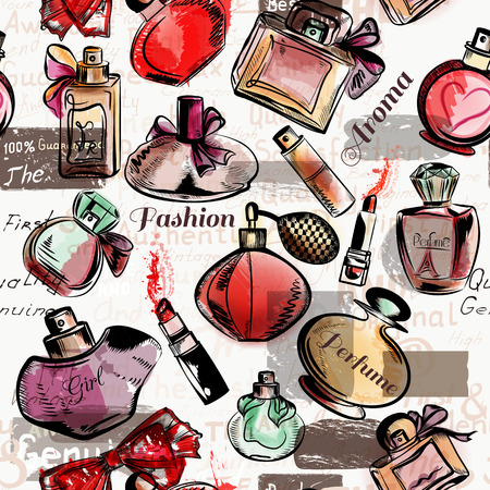 red lipstick: Fashion seamless vector background with  red lipstick and perfumes Illustration