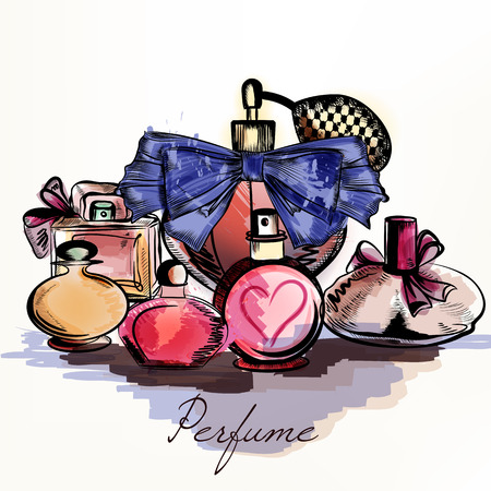 Fashion vector background with perfumes drawn in watercolor style select your aroma for design