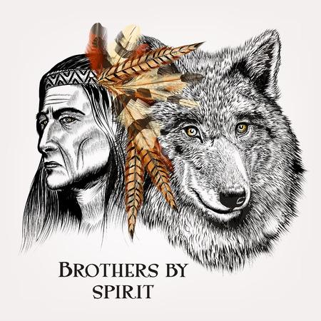 Mooie hoge gedetailleerde hand tekenen wolf met Indiase in realistische vector in gegraveerde stijl broers door de geest
