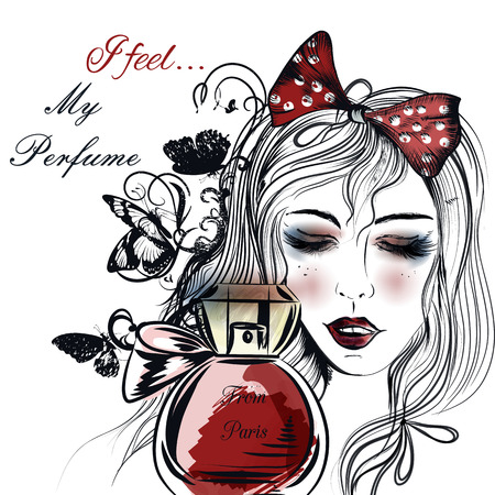 pretty eyes: Fashion illustration with hand drawn pretty girl close her eyes and bottle of perfume