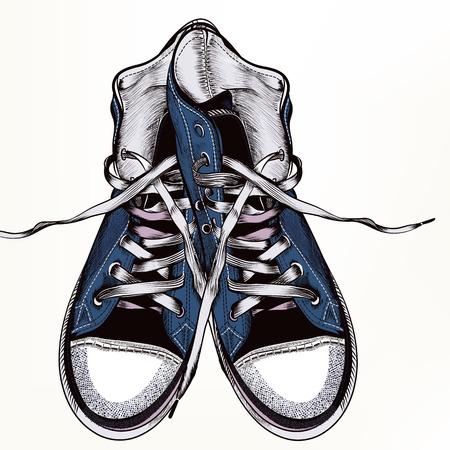 Fondo del vector de la manera con las zapatillas de deporte inconformista azules en estilo realista grabada para el desig Foto de archivo - 56010068
