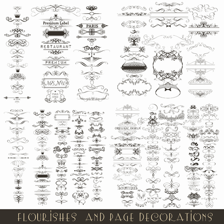 Collection or mega set of vector decorative frames for wedding invitations design