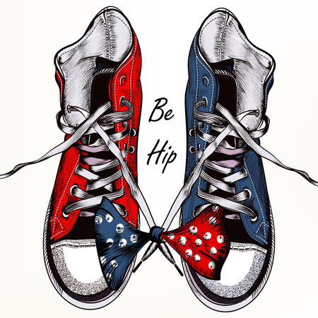 shoelace: Fashion vector background with blue hipster sneakers in realistic engraved style be hip for design Illustration